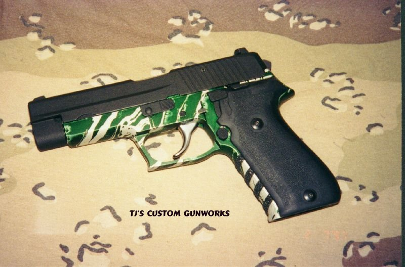 Custom Sig Sauer P220 With Forest Green & Silver Frame