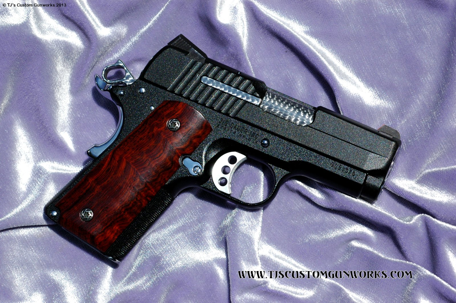 Full Custom Black Teflon Jewelled Sig Sauer 1911 Compact  45