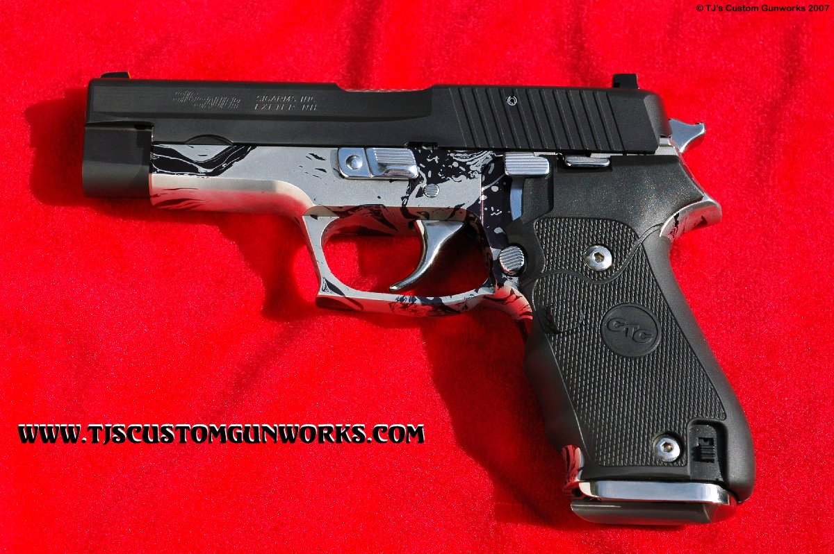 Custom Sig Sauer P220 With '© TJ Sig Mag Well' & Silver